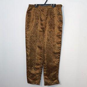 Vintage bronze high waisted jacquard asian trouser